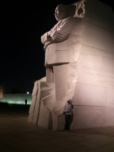 My son looking up to Dr. King at the King Memorial