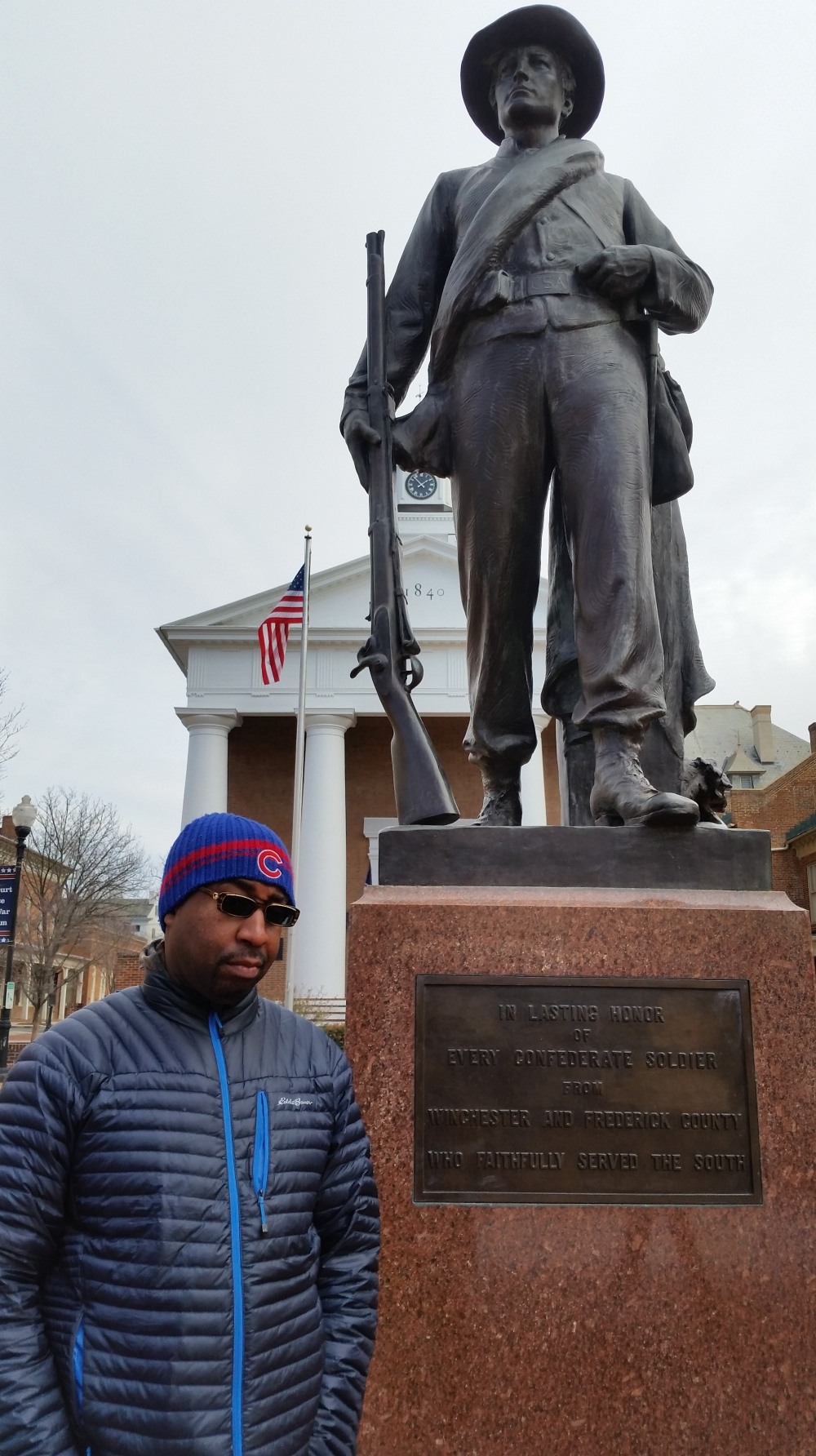 Me taking in some Civil War history outside of the Old Courthouse Museum in Winchester, Va